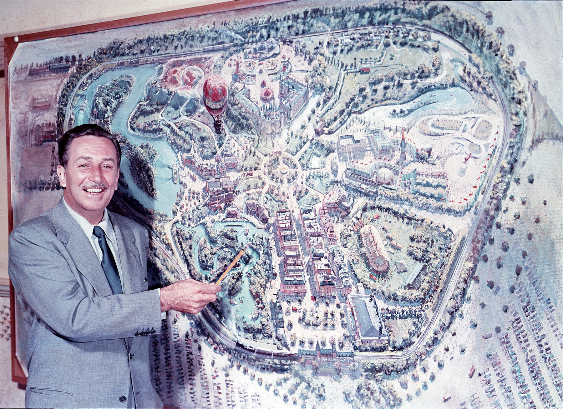 Walt with Map of Disneyland
